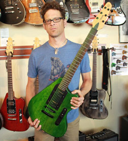 Jason Newsted with his Steen guitar